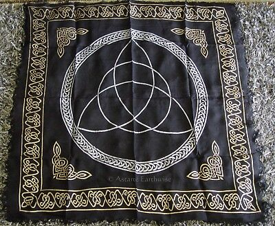 1 x TRIQUETRA IN GOLD & SILVER ALTAR CLOTH 457 x 457 mm Wicca Pagan Witch Goth