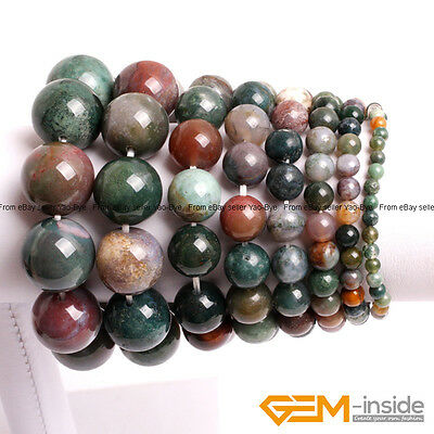 Handmade Natural Indian Agate Round Beaded Energy Healing Stretchy Bracelet 7""