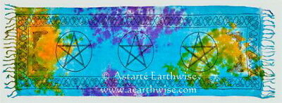 PENTACLE SARONG ALTAR CLOTH Wicca Pagan Witch Goth TABLE RUNNER PRAYER SHAWL