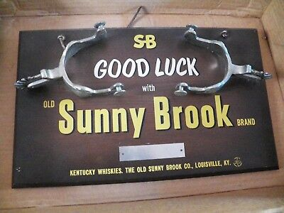 Old Sunny Brook Whiskey Antique Advertising Sign Good Luck Wood & Spurs