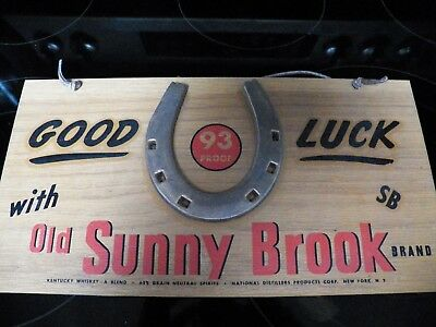 Old Sunny Brook Whiskey Antique Advertising Sign Good Luck Wood & Horseshoe