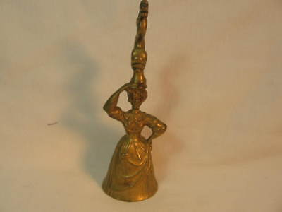 Brass Lady Figurine Bell With Dolphin On Her Head YES REALLY
