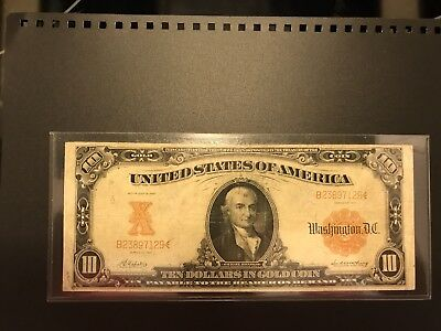 1907 $10 Ten Dollar Gold Certificate Note Large Size