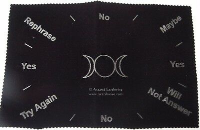 TRIPLE MOON PENDULUM MAT VELVET PRINTED Wicca Witch Pagan Divination