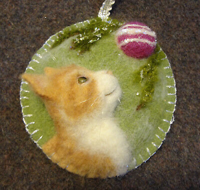Ooak Soft Sculpted Tabby Cat On Vintage Wool Ornament