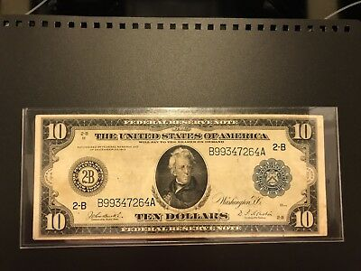 $10 1914 FEDERAL RESERVE Large New York note
