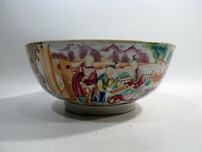 """Antique Chinese Famille Rose Canton 10.25"""" Serving Bowl Panels Cantonese Figures"""