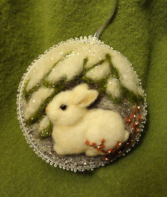 Ooak Soft Sculpted White Bunny On Vintage Wool Ornament