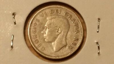 1948 10C CANADA SILVER 10 CENTS - VF - .800 Fine - Only 422,721 KEY DATE - RARE