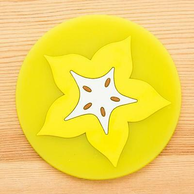 Fruit Coaster Colorful Silicone Cup Drinks Holder Mat Tableware Placemat Yellow