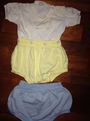 Vintage Fine Combed Cotton-Knit 6 Mo. Baby Shirt With Matching Bottoms