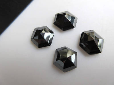 10pcs 10x10mm Natural Hematite Hexagon Shaped Rose Cut Faceted Cabochons BB445