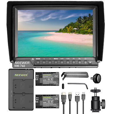 """Neewer NW-760(C) 7"""" Screen 1080P Camera Field Monitor with 2 Batteries & Charger"""