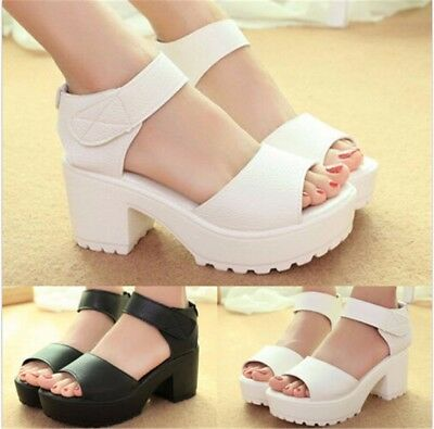 US Women Gladiator Platform Sandals Peep Toe Wedge High Heel Chunky Shoes Summer