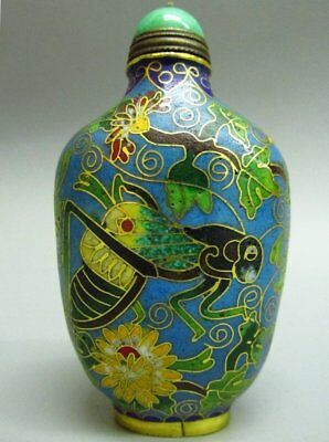 Chinese Excellent Cloisonne Carved Cricket Flower Pattern Snuff Bottle