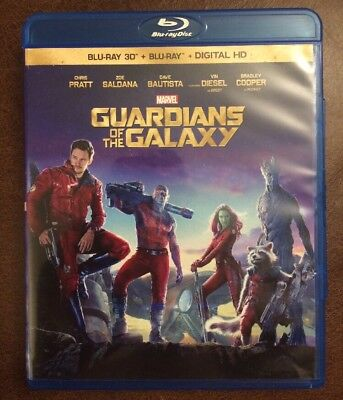 Guardians Of The Galaxy 3D Blu Ray Marvel 2 Disc Set Digital Copy Rare Groot 2D