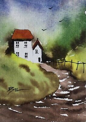ACEO Original Art Watercolour Painting by Bill Lupton  - Delightful Cottage