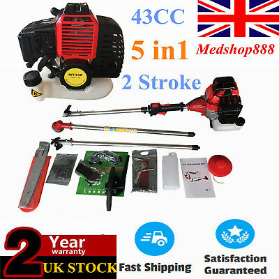43CC 5 in 1 Garden Hedge Trimmer Petrol Strimmer Chainsaw Brushcutter Tool Kit