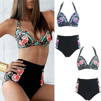 Women Floral Push Up Padded Bikini Set swimsuit Bathing High Waist Swimwear