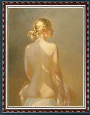 Oil painting original Art Portrait nude girl on canvas 24x36inch