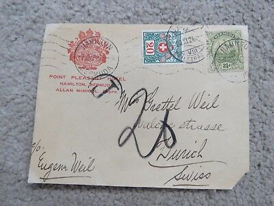 1924 Point Pleasant Hotel Hamilton Bermuda Cover. Bermuda & Swiss stamps/cancels
