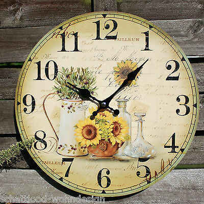 Wall Clock Sunflowers Olive Sunflower Flower Country House Style Mediterranean