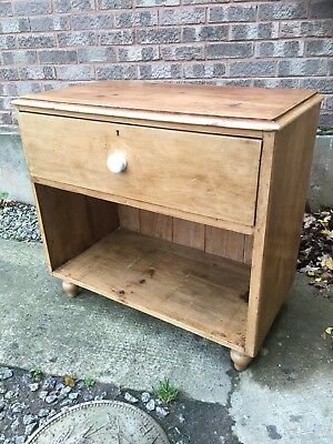 Victorian Waxed Pine Unit / Side Cupboard,  Large Drawer & Plank Backed Storage