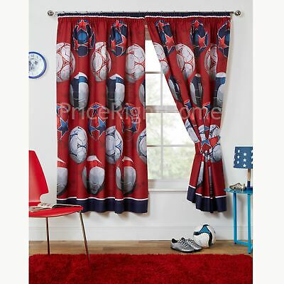 """FOOTBALL RED CURTAINS LINED WITH TIE BACKS BOYS BEDROOM 66"""" x 72"""""""