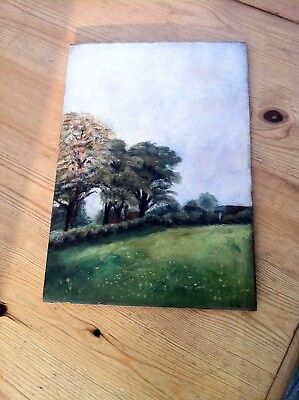Antique original oil painting on solid mahogany? board dated 1907