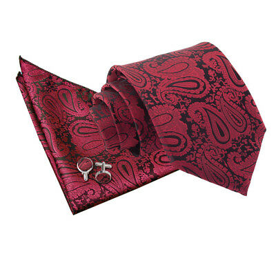 Mens Tie Hanky Cufflinks Set Woven Floral Paisley Burgundy Classic Skinny by DQT