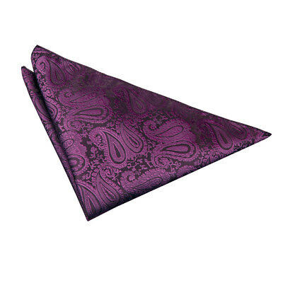 DQT Woven Floral Paisley Purple Formal Handkerchief Hanky Pocket Square