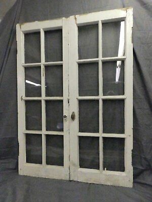 Pair Antique French Door Casement Windows Cupboard 8 Lite Bookcase 49X18 556-17P