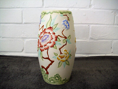 """Vintage H J Wood Chinese Rose Vase 1960's Hand Painted Raised Relief 9"""" High"""