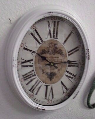 Wall Clock Paris Shabby Big Oval Metal Country House Style Nostalgic