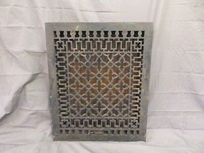 Large Antique Cast Iron Heat Grate Vent Register Old Gothic Black 20x16 559-17P