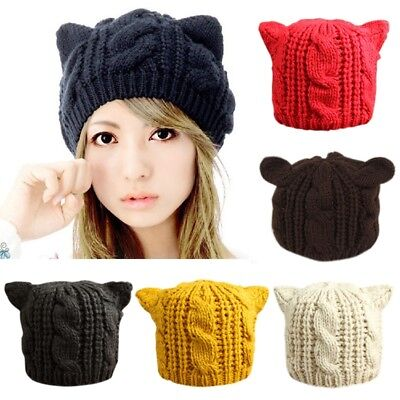 Winter Thick Knitted Wool Hat With Two Cat Ears Women's Beanie Warm Soft Cap