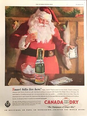 1945 Canada Dry Ginger Ale SANTA CLAUS Christmas AD - WWII Victory Bonds