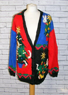 womens ugly christmas jumper cardigan vintage UK 16-18 dogs cats xmas trees IN81