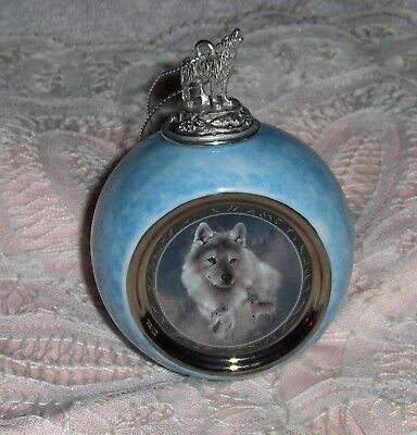 Vtg Silver Scout Pastel Blue Bradford Editions Howling Wolf Ornament Figurine 97