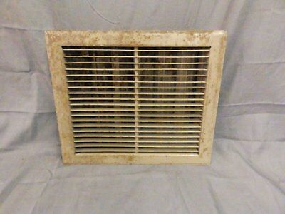 Antique Stamped Steel Floor Heat Grate Register Vent Old Vtg 12x14 568-17P