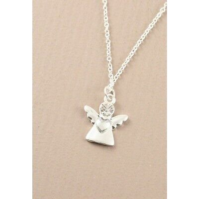 """NEW Silver guardian angel crystal pendant on a thin 15"""" chain necklace fashion"""