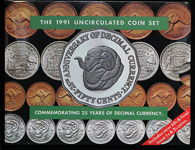 1991 Australia Uncirculated 8 Coin Set Last Year 1 Cent & 2 Cent Coins