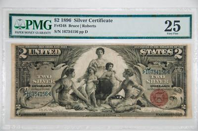 "1896 PMG 25 Very Fine $2 ""Educational"" Silver Certificate Fr#248 Item#J1949"