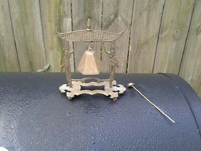 Vintage Chinese Etched Brass Gong Bell W/ Footed Stand With Striker / Hammer