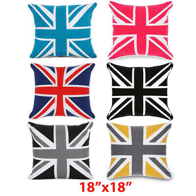 "100% Cotton Union Jack Cushion Covers,Sofa Cases Couch Pillow 18""x18"" Piped Edge"