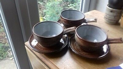 3 Creigiau Studio Pottery Soup and Saucers