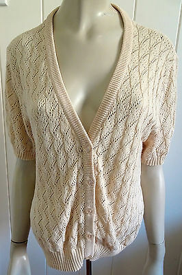 Barclay Knitwear NZ 1960s vintage label short-sleeve lacey cardi size 16 (OS)