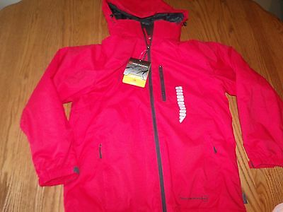 NWT Mens FREE COUNTRY DOBBY JACKET COAT RED WIND RAIN Resistant HOOD LARGE L