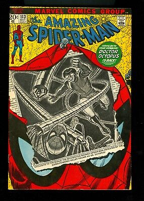 AMAZING SPIDER-MAN #113 -- 1972 -- 1st Appearance HAMMERHEAD  -- VF Or Better