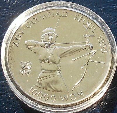 Rare .925 Silver Error Date 1988 Korea South 10000 Won KM#62 Archery Proof #WB16